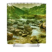 Nice River Water Flowing Through Rocks At Dawn Shower Curtain