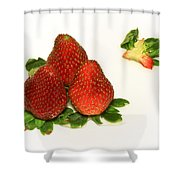 4... No... 3 Strawberries Shower Curtain