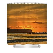 Orange Sunrise Seascape And Silhouettes Shower Curtain