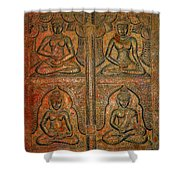 4 Panels Buddhas Wall Carving With Antique Filter Shower Curtain