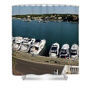 panoramic town 1 - Panorama of Port Mahon Menorca Shower Curtain
