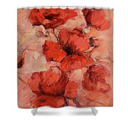 Poppy Flowers Handmade Oil Painting On Canvas Shower Curtain