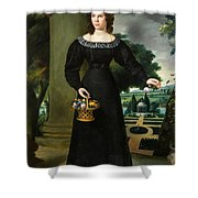 Portrait Of A Young Lady With Flower Basket Shower Curtain