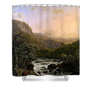 River In The Ardennes At Sunset Shower Curtain