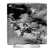 Rocky Mountains In Colorado With Snow Aerial Black And White Shower Curtain