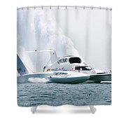 Roostertail From Racing Hydroplanes Boats On The Detroit River For Gold Cup Shower Curtain