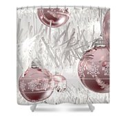 Rose Gold Christmas Baubels Shower Curtain