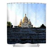 Sacre Coeur Shower Curtain by Riad Belhimer