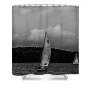 Sail Boat On Large Lake Shower Curtain