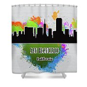 San Francisco Skyline Silhouette Shower Curtain
