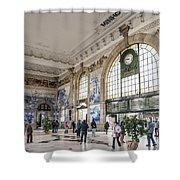 Sao Bento Railway Station Landmark Interior In Porto Portugal Shower Curtain