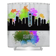 Seattle Skyline Silhouette Shower Curtain