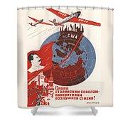 Stalin Soviet Propaganda Poster Shower Curtain