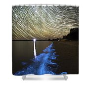Star Trails And Bioluminescence Shower Curtain by Philip Hart