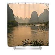 Sunset On The Li River Shower Curtain