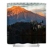 Sunset Over Lake Bled Shower Curtain