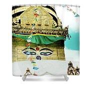 Swayambhunath Stupa In Nepal Shower Curtain by Raimond Klavins