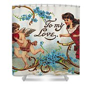 Valentines Day Card Shower Curtain