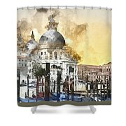 Venice Italy Digital Watercolor On Photograph Shower Curtain