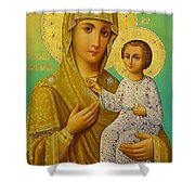 Virgin And Child Icon Christian Art Shower Curtain