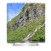Waterfall In Geiranger Norway Shower Curtain