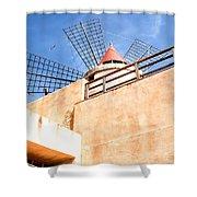 Windmill - Trapani Salt Flats Shower Curtain