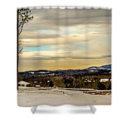 Winter Landscape And Snow Covered Roads In The Mountains Shower Curtain