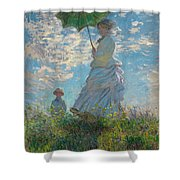 Woman With A Parasol - Madame Monet And Her Son Shower Curtain