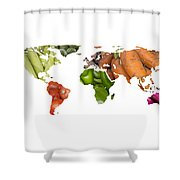 World Fruits Vegetables Map Shower Curtain