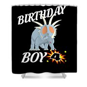 4 Years Old Birthday Design Dinosuar Shirt Shower Curtain