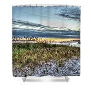 Yorktown Beach At Sunrise Shower Curtain