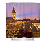 Zagreb Historic Upper Town Night View Shower Curtain