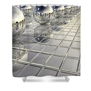 400 Silver Spheres Shower Curtain