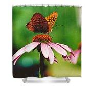 #416 14a Butterfly Fritillary, Coneflower Lunch Break Good Till The Last Drop Shower Curtain