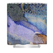 42. V1 Blue Purple Black Glaze Painting Shower Curtain