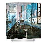 42nd Street Blue Shower Curtain by Steve Karol