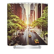 42nd Street In New York During The Day  Shower Curtain