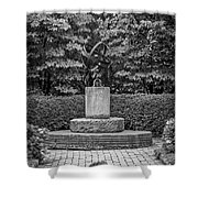4387- Sculpture Black And Whi Shower Curtain