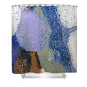 44. Blue Purple White Glaze Painting Shower Curtain