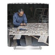 4466- Wood Carver Shower Curtain