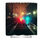 47015 Miscellaneous Rail Track Rail Track And Lights Shower Curtain