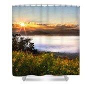 Oil Canvas Landscape Shower Curtain