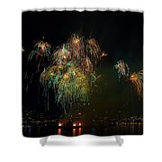 4th Of July Fireworks From The Barge Portland Oregon Shower Curtain