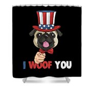 4th Of July Usa Indepedence Day Patriotic Uncle Sam Pug Dog Shower Curtain