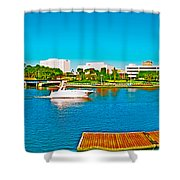 4x1 Downtown Tampa Panorama Shower Curtain