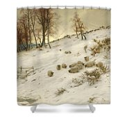 A Flock Of Sheep In A Snowstorm Shower Curtain