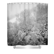 Abstract Scenes At Ski Resort During Snow Storm Shower Curtain