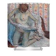 After The Bath Shower Curtain by Edgar Degas