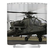 Ah-64 Apache Helicopter On The Runway Shower Curtain