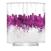 Bangkok Skyline In Watercolor Background Shower Curtain